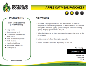 Metabolic Cooking's Apple Oatmeal Pancakes – Fit Desk