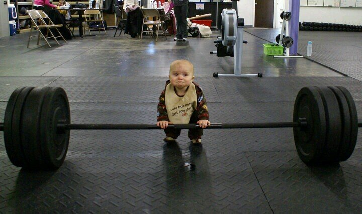 Toddler Trying To Lift To Deadlift A Heavy Barball
